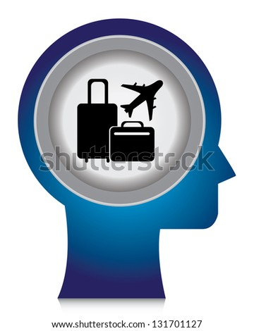 Holiday or Vacation Concept Present By Blue Head With Black Baggage and Airplane Sign Inside Isolated on White Background - stock photo