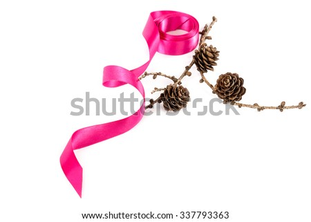 Holiday pink ribbon and a branch of pine tree with pine cones isolated on white background. - stock photo