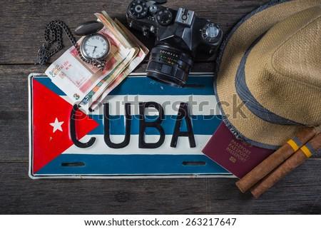 Holiday preparation, destination Cuba - stock photo