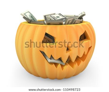 Holiday pumpkin jack lantern full of dollars isolated on white background - stock photo
