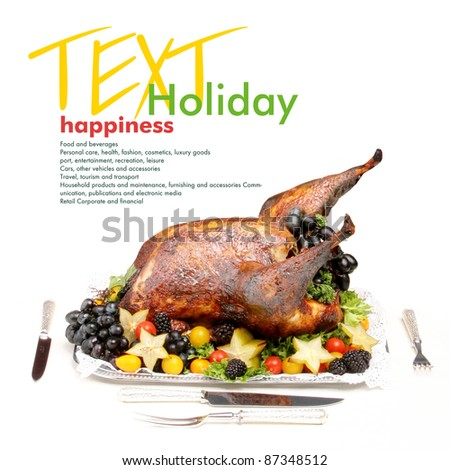Holiday roasted turkey. Copy space - stock photo