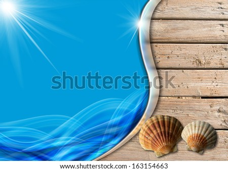 Holiday Sea Background / Two seashells on wooden floor with sand, stylized waves and sunlight, concept of summer vacations - stock photo