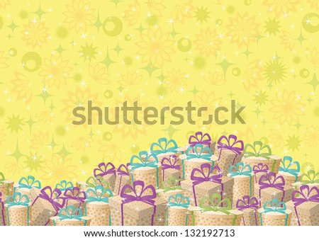 Holiday seamless background, festive gift boxes and floral pattern. - stock photo