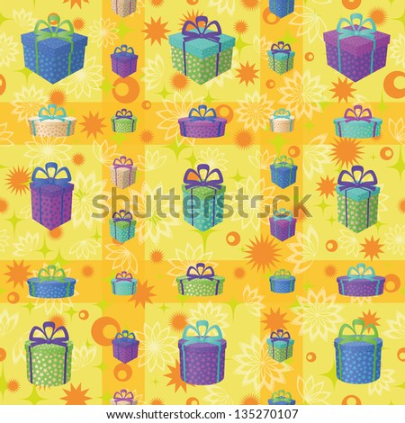 Holiday seamless background with a pattern of festive gift boxes and star - stock photo