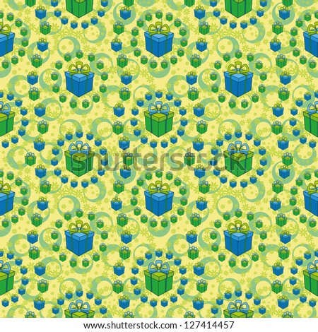 Holiday seamless background with a pattern of festive gift boxes, flowers and circles. - stock photo