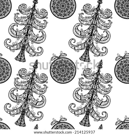 Holiday seamless pattern with black Christmas tree and Christmas ball on a white background. Line art. New Year monochrome print texture. Fabric design. Wallpaper - raster version - stock photo