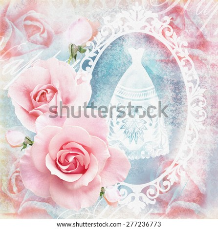 Holiday tender floral card with roses and a mirror, which reflected silhouette in a white wedding dress. Wedding theme. Congratulation or invitation card in pink tones. - stock photo