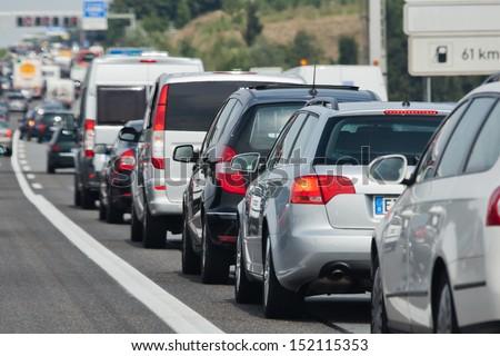 holiday traffic jam on a freeway - stock photo