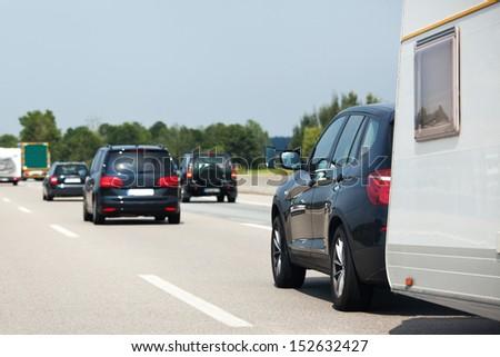 holiday traffic on a freeway - stock photo