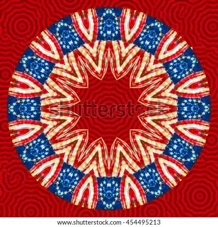 Holiday twist and twirl fourth of July 4th design kaleidoscope pattern pretty background festive backdrop vivid - stock photo