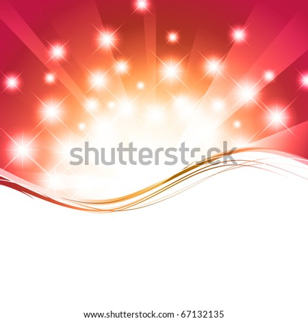 holiday wavy template with shining stars and copyspace - stock photo