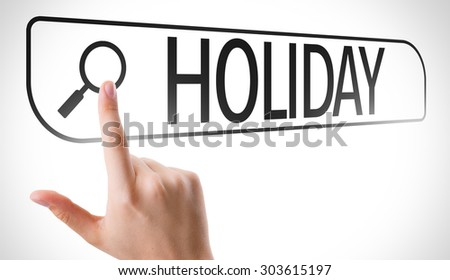 Holiday written in search bar on virtual screen - stock photo