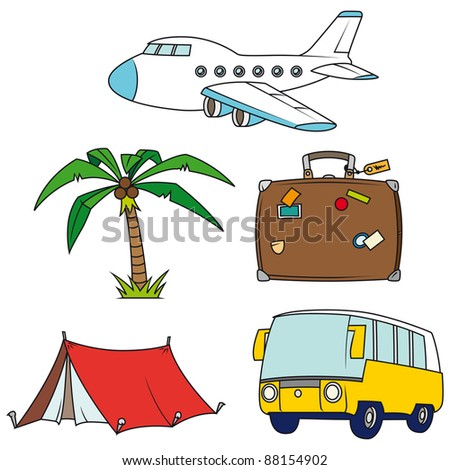Holidays and travel clip-art set isolated on white background - raster version - stock photo