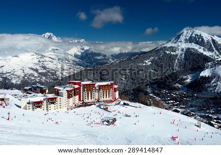 Holidays at the ski resort. Alpes, France - stock photo