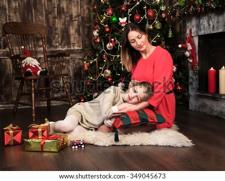 holidays christmas and family concept happy mother and daughter - stock photo