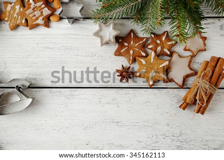 holidays cookies on white boards, xmas - stock photo