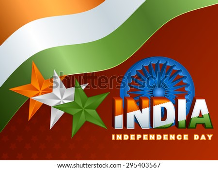 Holidays layout template with national flag colors of India; Orange, white and green stars and Ashoka wheel on national flag colors for fifteenth of August, Indian Independence Day - stock photo