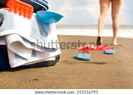 holidays on beach - stock photo