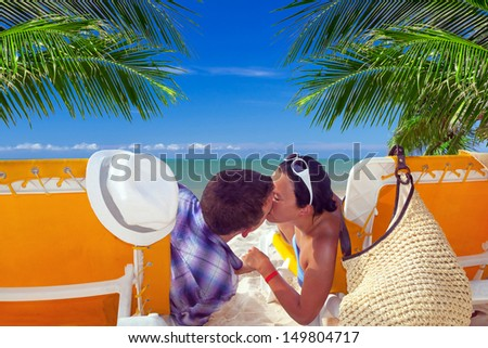 Holidays on the beach of Caribbean Sea - stock photo