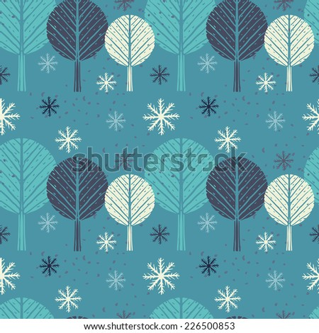 Holidays seamless pattern with Christmas trees and snowflakes. Abstract winter hand drawn ornament. Repeated background. Nature print texture. Cloth design. Wallpaper - stock photo