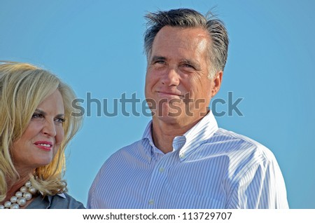 HOLLAND, MICHIGAN - JUNE 19: Mitt Romney campaign rally at Holland State Park, June 19, 2012 in Holland, Michigan - stock photo