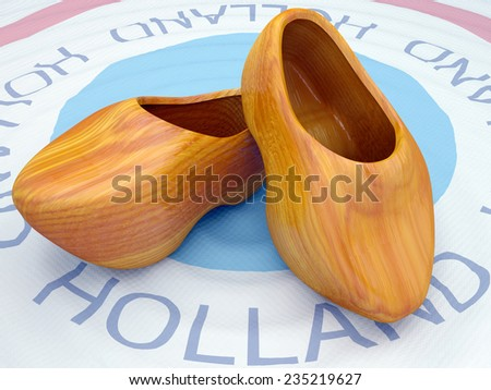 holland national wooden footwear of a sabot in 3d - stock photo