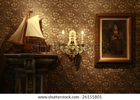 Holland retro still life with ship model and oil painting (Unknown painter, 19th century) - stock photo