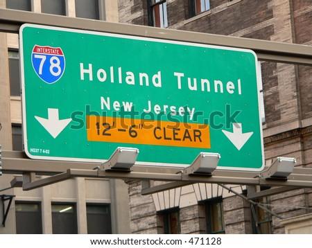 Holland Tunnel Street Sign in Manhattan, New York City - stock photo