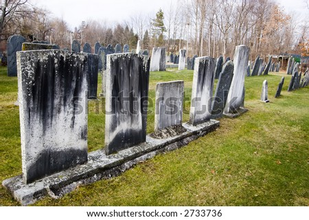Hollis New Hampshire Colonial Cemetary - stock photo