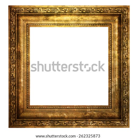 Hollow wooden frame isolated on pure white background - stock photo