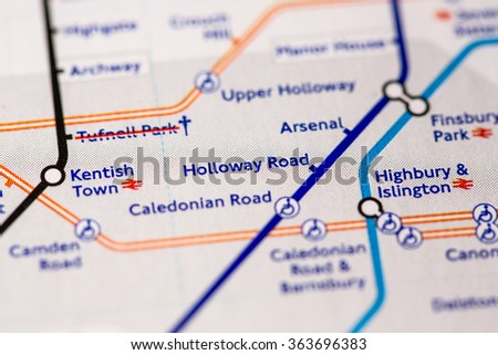 Holloway Road Station on a map of the Piccadilly metro line in London, UK. - stock photo
