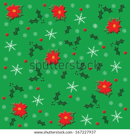 holly and poinsettia on green background with snowflakes illustration - stock photo