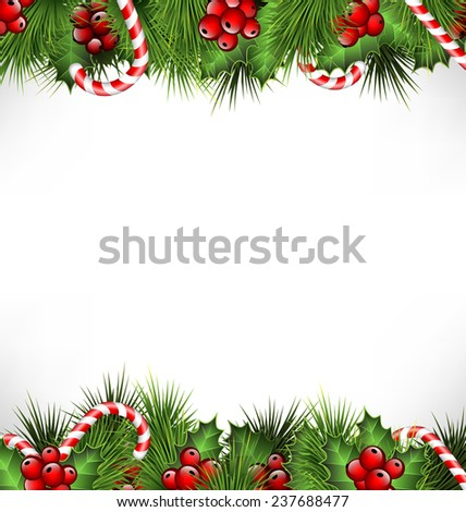 holly sprigs with pine branches and candy canes isolated on white background - stock photo