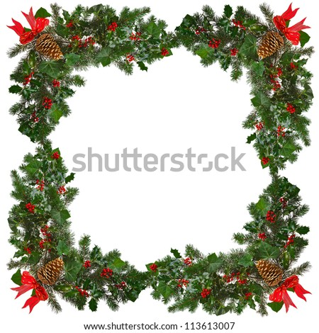 Holly with red berries, ivy, evergreen spruce branches, red ribbon and gold pine cone arranged in a square frame against a white background. - stock photo