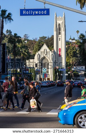 Hollywood Blvd, LA, California - February 08 : Street view with traffic on Hollywood Blvd, February 08 2015 in Hollywood Blvd, LA, California. - stock photo