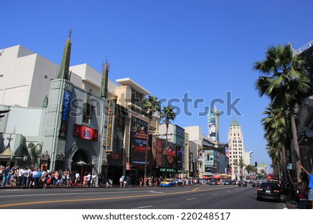 Hollywood Boulevard, one of the top destinations in Los Angeles, California, lined with many Hollywood movie attractions on May 19, 2014 - stock photo
