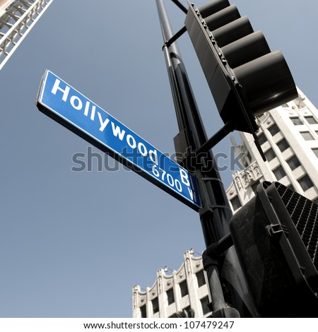 Hollywood boulevard sign, California, USA - stock photo