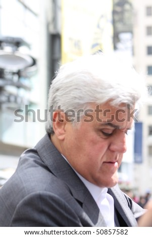 HOLLYWOOD, CA - APRIL 12: Comedian Jay Leno at ceremony honoring Russell Crowe with star on Walk of Fame April 12, 2010, Hollywood, CA. - stock photo