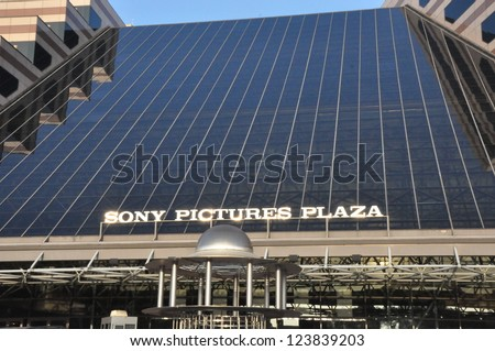 HOLLYWOOD, CA - DEC 7: Sony Pictures building on historic movie studio lot in Culver City, CA on December 7, 2012. From the golden age of film, this historic lot was once MGM, Paramount and Columbia. - stock photo