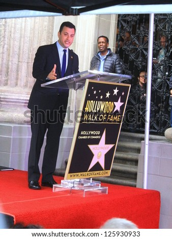 HOLLYWOOD CA- JANUARY 25, : Talk show host Jimmy Kimmel at Walk of Fame ceremony where he received his star January 25, 2013 Hollywood, CA. - stock photo