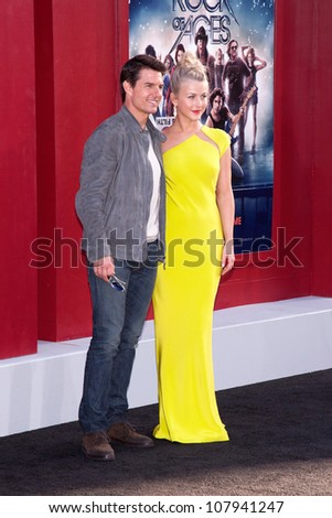 HOLLYWOOD, CA - JUNE 08: Tom Cruise and Julianne Hough pose at the premiere of Warner Bros. Pictures' 'Rock of Ages' at Grauman's Chinese Theatre on June 8, 2012 in Hollywood, California. - stock photo