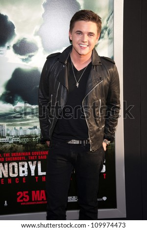 HOLLYWOOD, CA - MAY 23: Jesse McCartney arrives at the Special Fan Screening of Chernobyl Diaries at the Cinerama Dome on May 23, 2012 in Hollywood, California. - stock photo