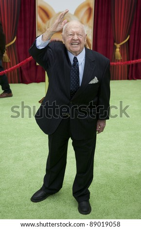 HOLLYWOOD, CA - NOVEMBER 12: Mickey Rooney attends the Premiere Of Walt Disney Pictures' 'The Muppets' at the El Capitan Theatre on November 12, 2011 in Hollywood, California. - stock photo