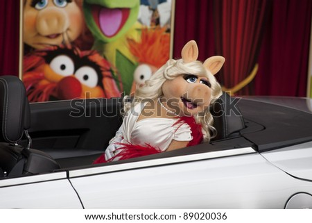 HOLLYWOOD, CA - NOVEMBER 12: Miss Piggy attends the Premiere Of Walt Disney Pictures' 'The Muppets' at the El Capitan Theatre on November 12, 2011 in Hollywood, California. - stock photo