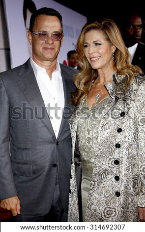 HOLLYWOOD, CA - NOVEMBER 09, 2009: Tom Hanks and Rita Wilson at the World premiere of 'Old Dogs' held at the El Capitan Theater in Hollywood, USA on November 9, 2009. - stock photo