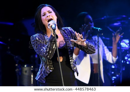 HOLLYWOOD, CA-OCT 24: Recording artist Demi Lovato performs during CBS RADIOs third annual We Can Survive, presented by Chrysler, at the Hollywood Bowl on October 24, 2015 in Hollywood, California. - stock photo