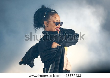 HOLLYWOOD, CA-OCT 24: Recording artist Rihanna performs onstage during CBS RADIOs third annual We Can Survive, presented by Chrysler at the Hollywood Bowl on October 24, 2015 in Hollywood, California. - stock photo