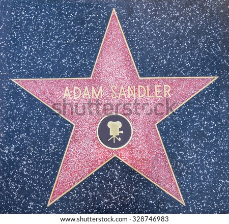 HOLLYWOOD,CA - OCTOBER 8,2015: Adam Sandler star on Hollywood Walk of Fame in Hollywood, California. This star is located on Hollywood Blvd. and is one of 2400 celebrity stars. - stock photo