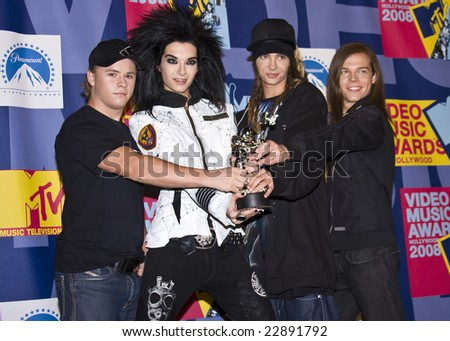 HOLLYWOOD, CA - SEPTEMBER 07: German Rock Group TOKIO HOTEL posing in the press room at the 2008 MTV Video Music Awards at Paramount Pictures Studios on September 7, 2008 in Hollywood, California. - stock photo
