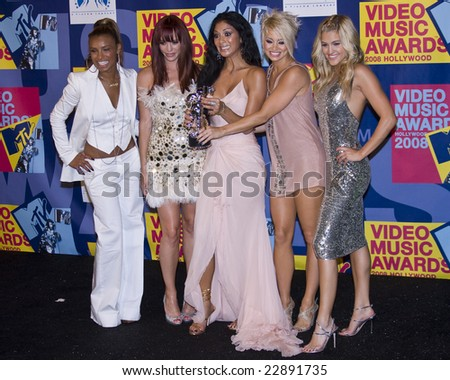 Hollywood, CA - SEPTEMBER 07: Musical Group The Pussycat Dolls poses in the press room at the 2008 MTV Video Music Awards at Paramount Pictures Studios on September 7, 2008 in Los Angeles, California. - stock photo